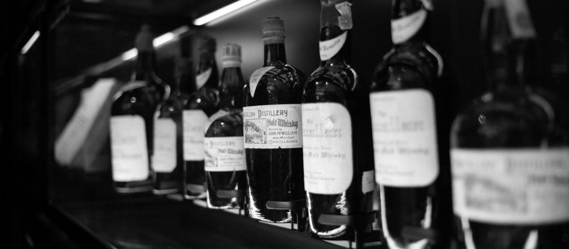 Distillery bottles in a row